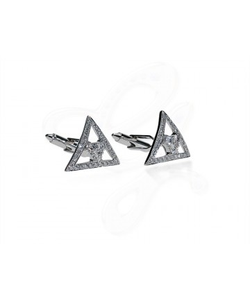 Bermuda Triangle Diamond Wtih Side Stones Cuff Links