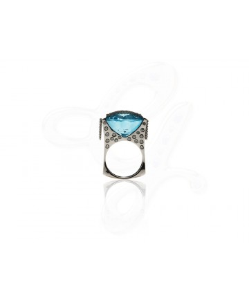 Vineyard in Snow Blue Topaz Ring