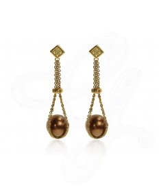 Chocolate Pearl Drop Earrings