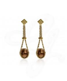 Chocolate Pearl Drop Earrings
